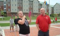 Bob Nesbitt & his wife on campus of Edinboro Univ. where he used to teach by Irene Petree