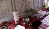 table setting in the N/N tent with the Quaich by Irene Petree